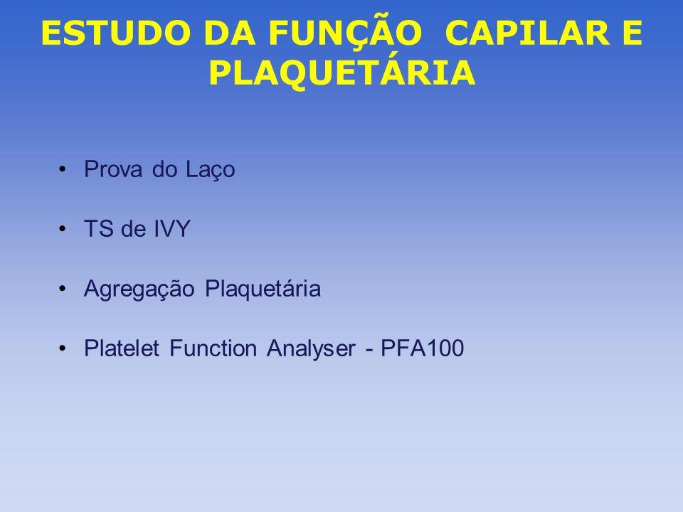 ESTUDO DA FUNÇÃO CAPILAR E PLAQUETÁRIA