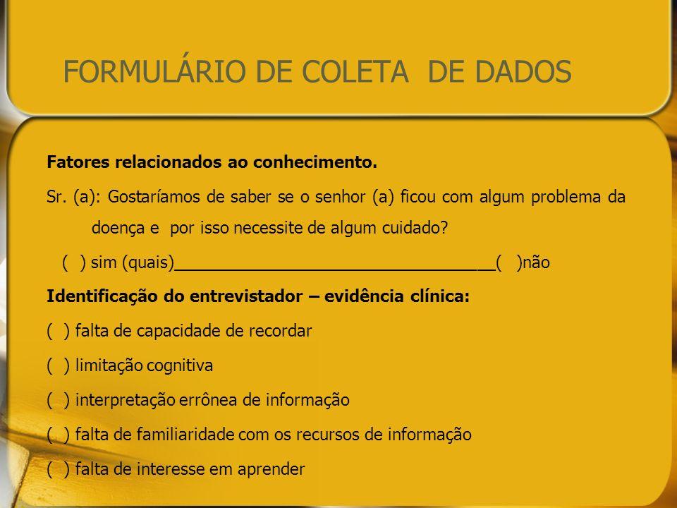 FORMULÁRIO DE COLETA DE DADOS