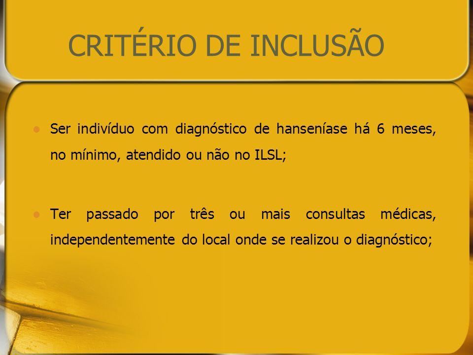 CRITÉRIO DE INCLUSÃO Ser indivíduo com diagnóstico de hanseníase há 6 meses, no mínimo, atendido ou não no ILSL;