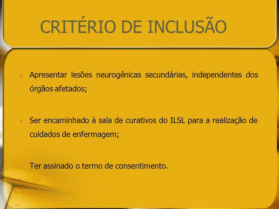 CRITÉRIO DE INCLUSÃO Apresentar lesões neurogênicas secundárias, independentes dos órgãos afetados;