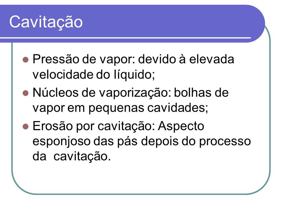Cavitação Pressão de vapor: devido à elevada velocidade do líquido;