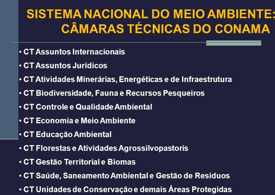 SISTEMA NACIONAL DO MEIO AMBIENTE: CÂMARAS TÉCNICAS DO CONAMA