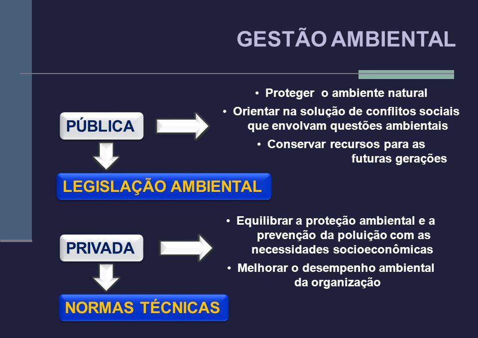 GESTÃO AMBIENTAL PÚBLICA LEGISLAÇÃO AMBIENTAL PRIVADA NORMAS TÉCNICAS