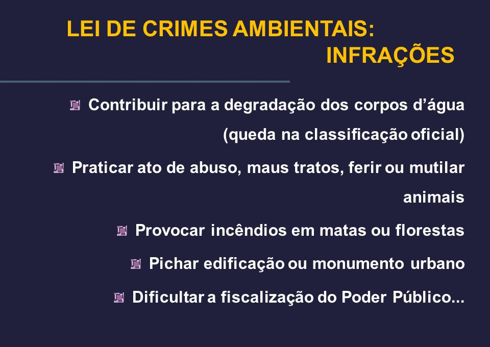 LEI DE CRIMES AMBIENTAIS: INFRAÇÕES