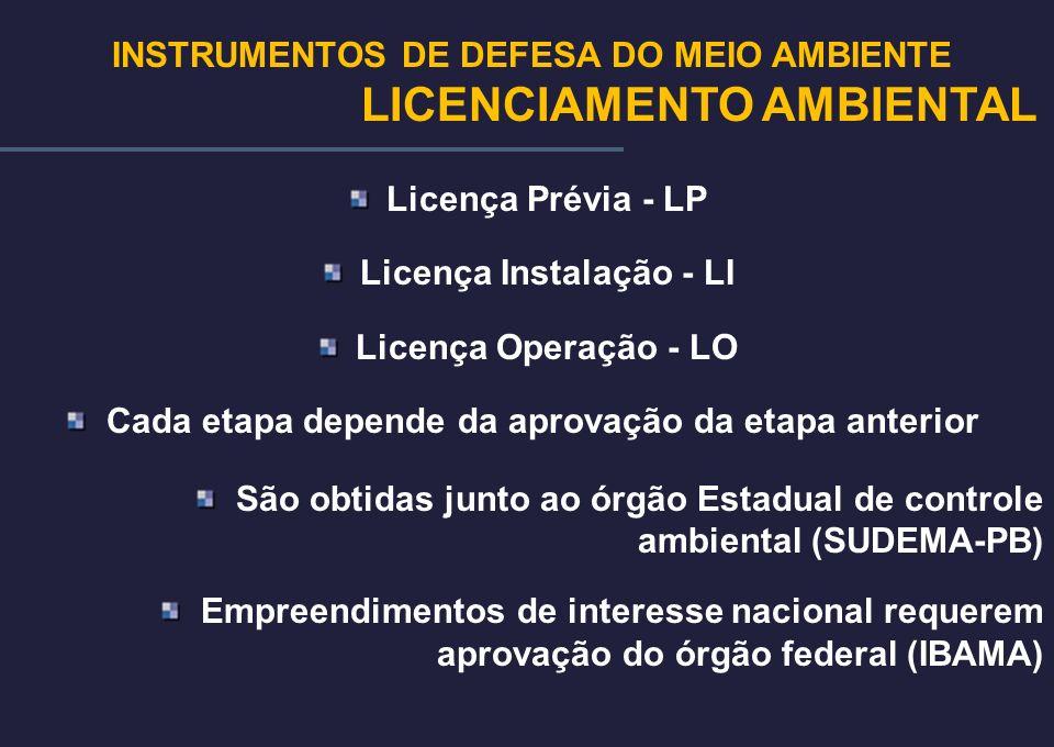INSTRUMENTOS DE DEFESA DO MEIO AMBIENTE Licença Instalação - LI