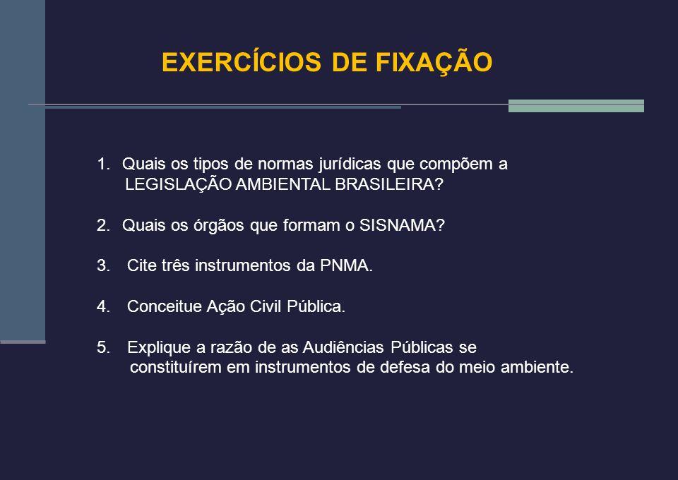 EXERCÍCIOS DE FIXAÇÃO Quais os tipos de normas jurídicas que compõem a