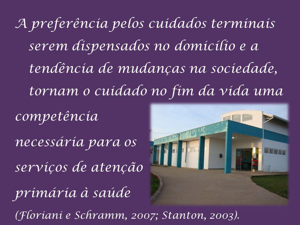 A preferência pelos cuidados terminais serem dispensados no domicílio e a tendência de mudanças na sociedade, tornam o cuidado no fim da vida uma