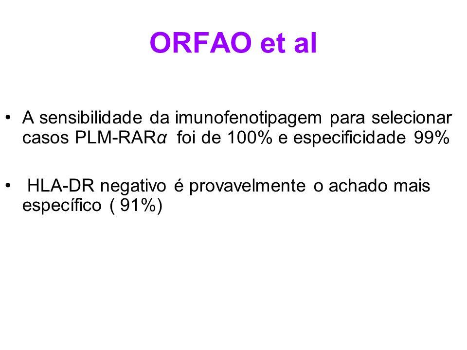 ORFAO et al A sensibilidade da imunofenotipagem para selecionar casos PLM-RARα foi de 100% e especificidade 99%