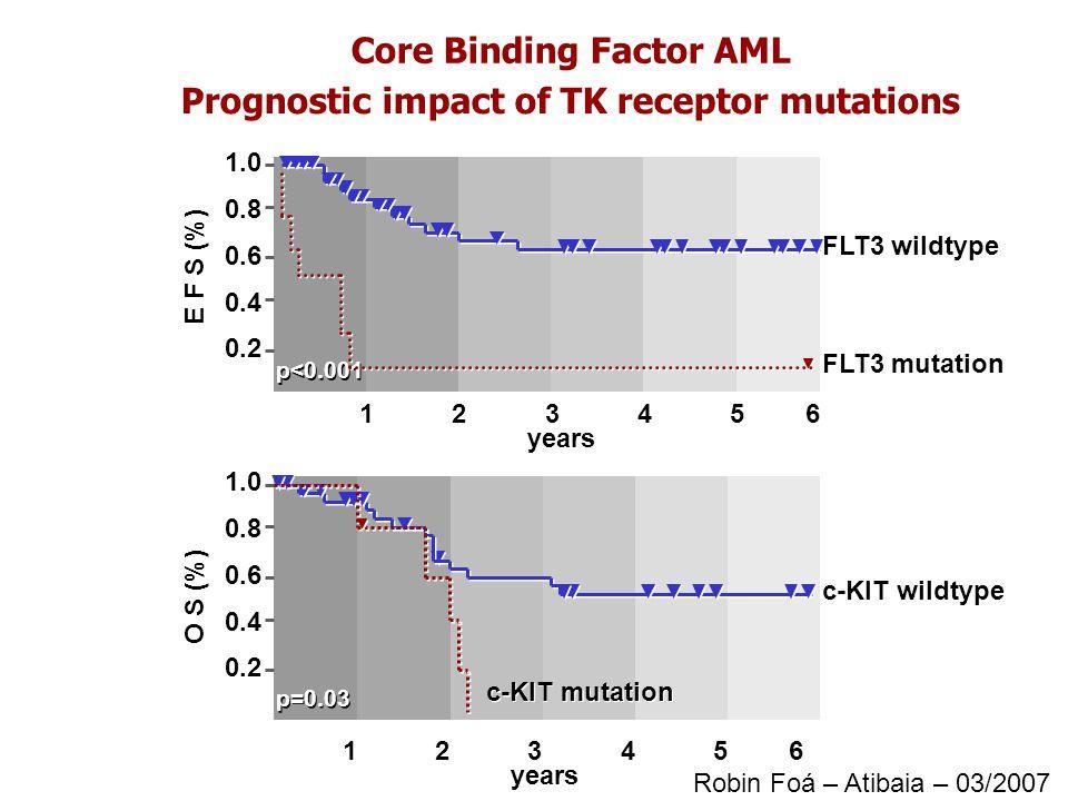 Core Binding Factor AML Prognostic impact of TK receptor mutations