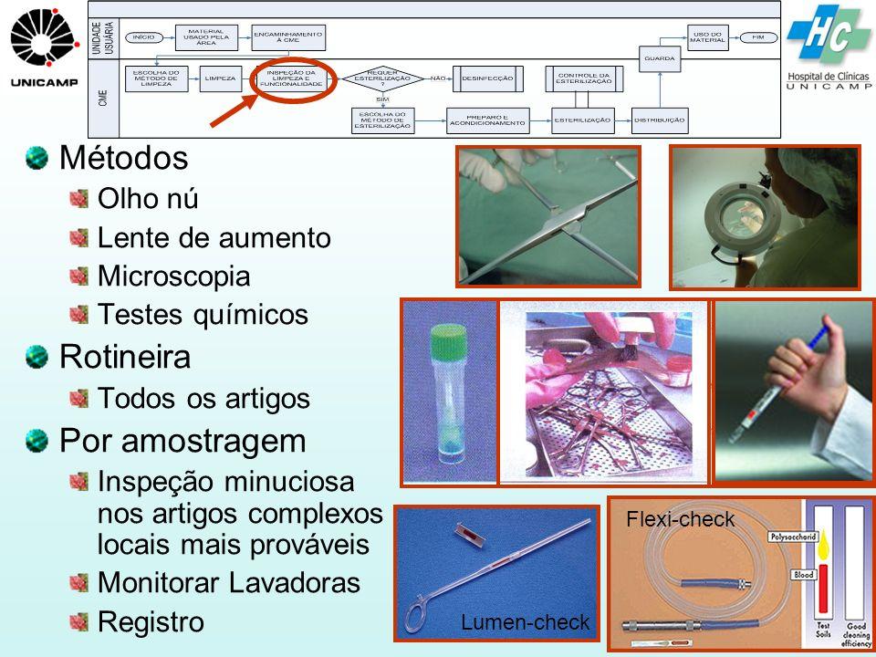 Métodos Rotineira Por amostragem Olho nú Lente de aumento Microscopia