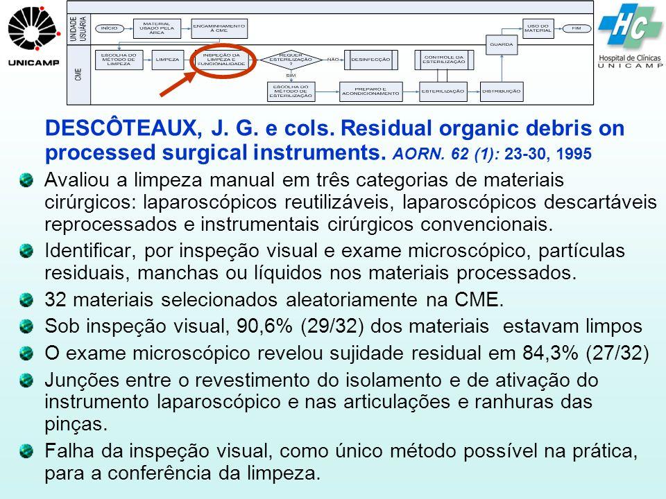 DESCÔTEAUX, J. G. e cols. Residual organic debris on processed surgical instruments. AORN. 62 (1): 23-30, 1995