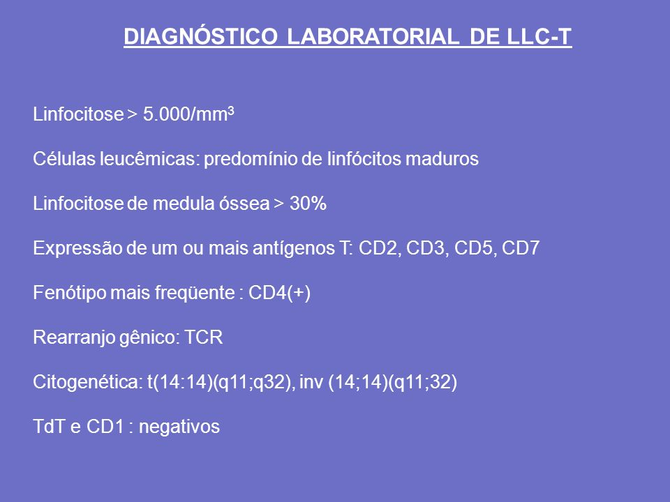 DIAGNÓSTICO LABORATORIAL DE LLC-T