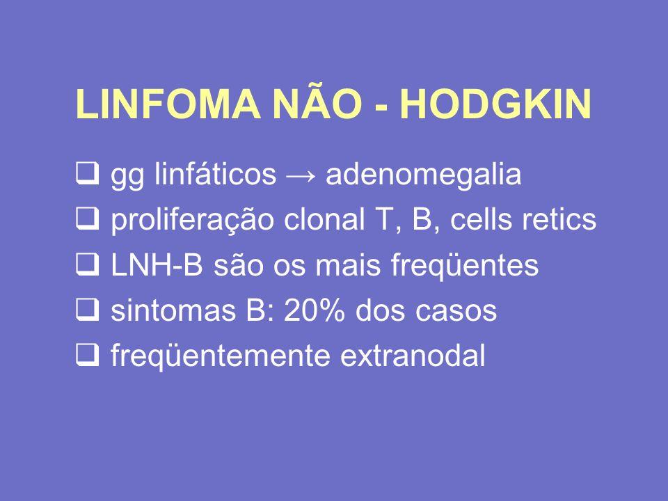 LINFOMA NÃO - HODGKIN gg linfáticos → adenomegalia