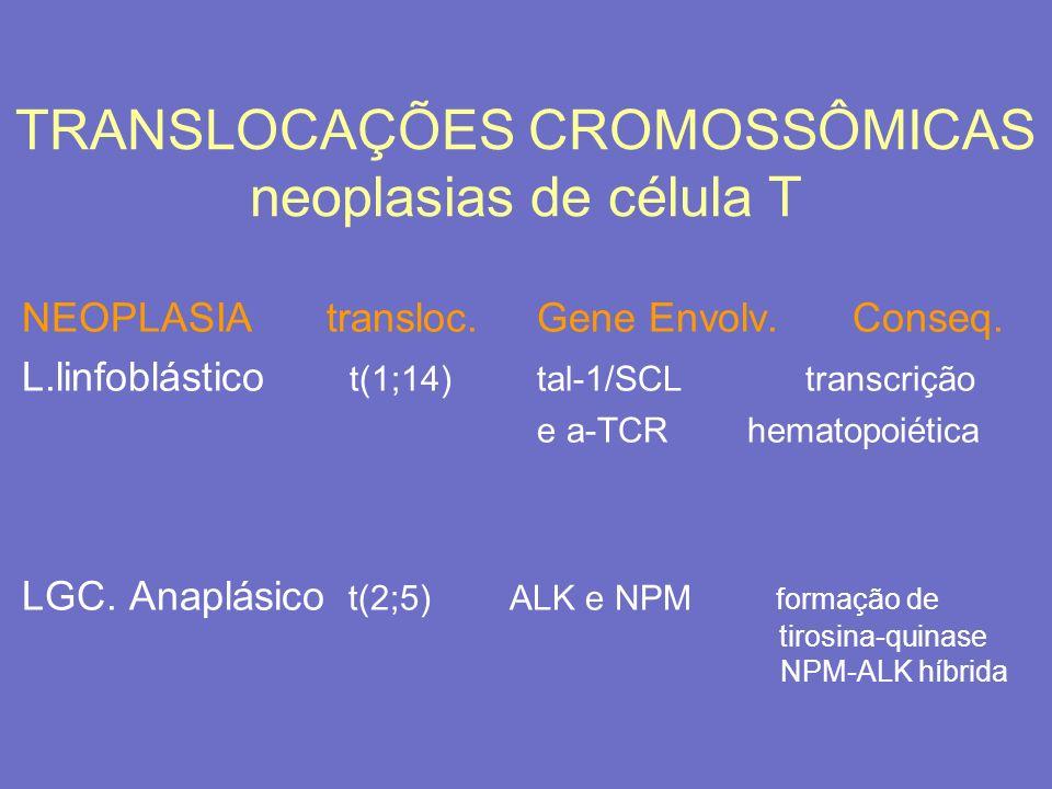 TRANSLOCAÇÕES CROMOSSÔMICAS neoplasias de célula T