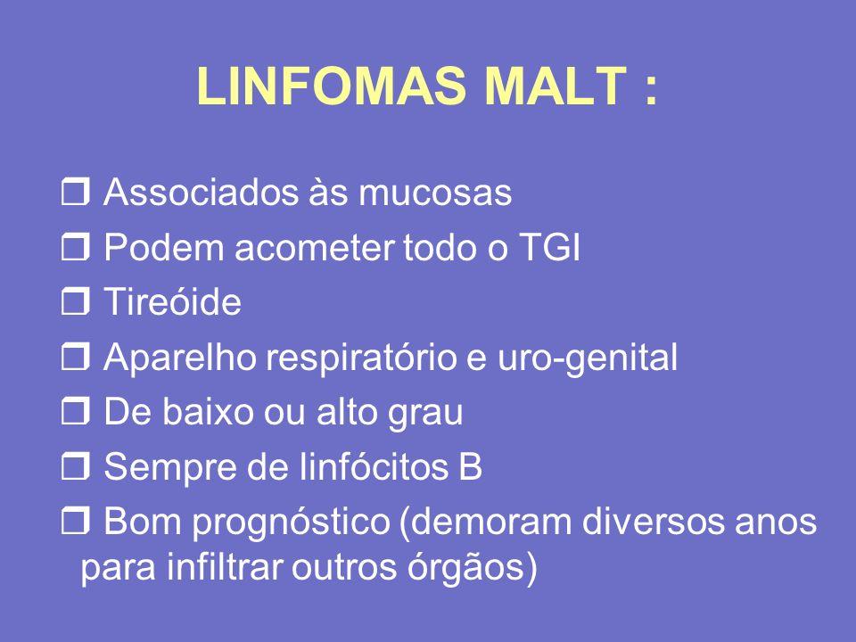 LINFOMAS MALT : Associados às mucosas Podem acometer todo o TGI
