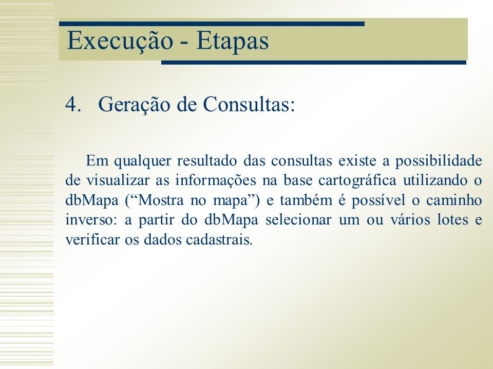 Execução - Etapas Geração de Consultas: