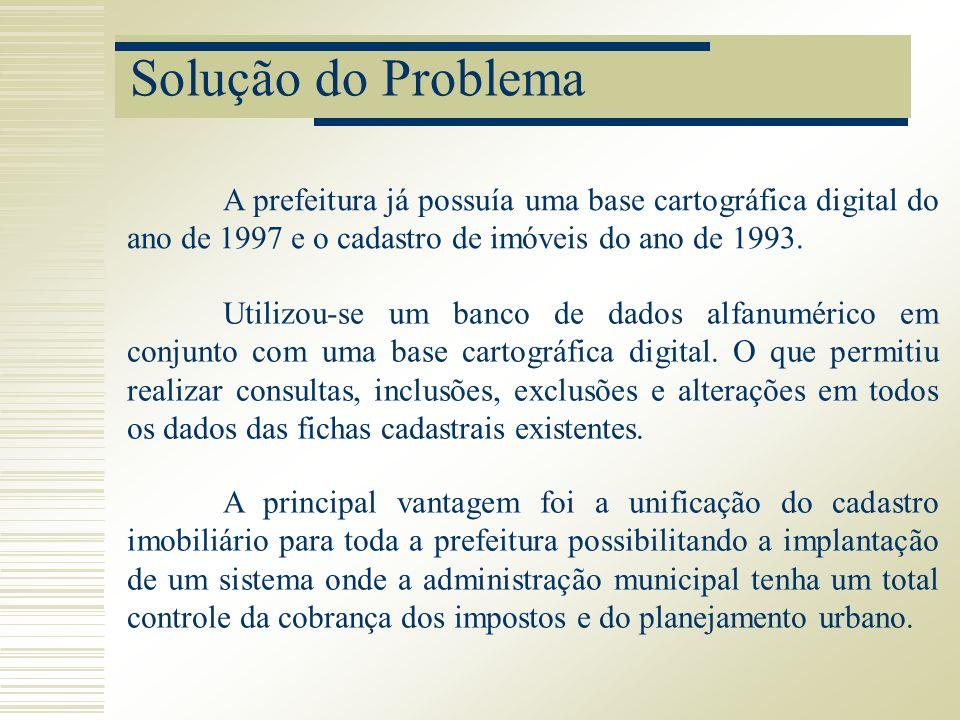 Solução do Problema A prefeitura já possuía uma base cartográfica digital do ano de 1997 e o cadastro de imóveis do ano de 1993.