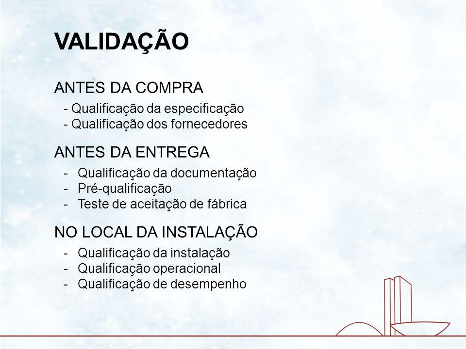 VALIDAÇÃO ANTES DA COMPRA ANTES DA ENTREGA NO LOCAL DA INSTALAÇÃO