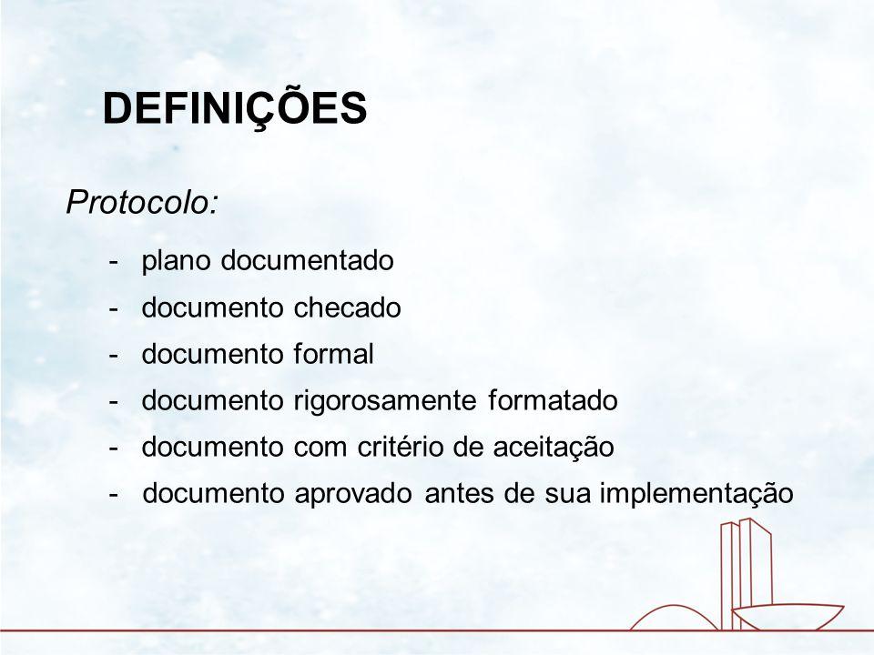 DEFINIÇÕES Protocolo: plano documentado documento checado