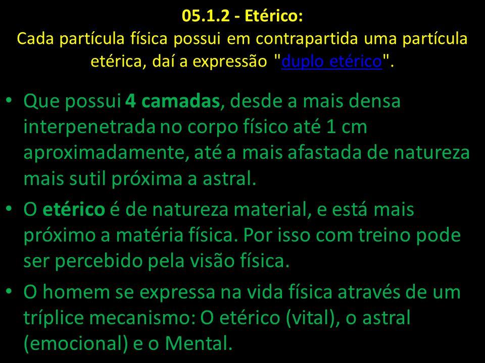 05.1.2 - Etérico: Cada partícula física possui em contrapartida uma partícula etérica, daí a expressão duplo etérico .