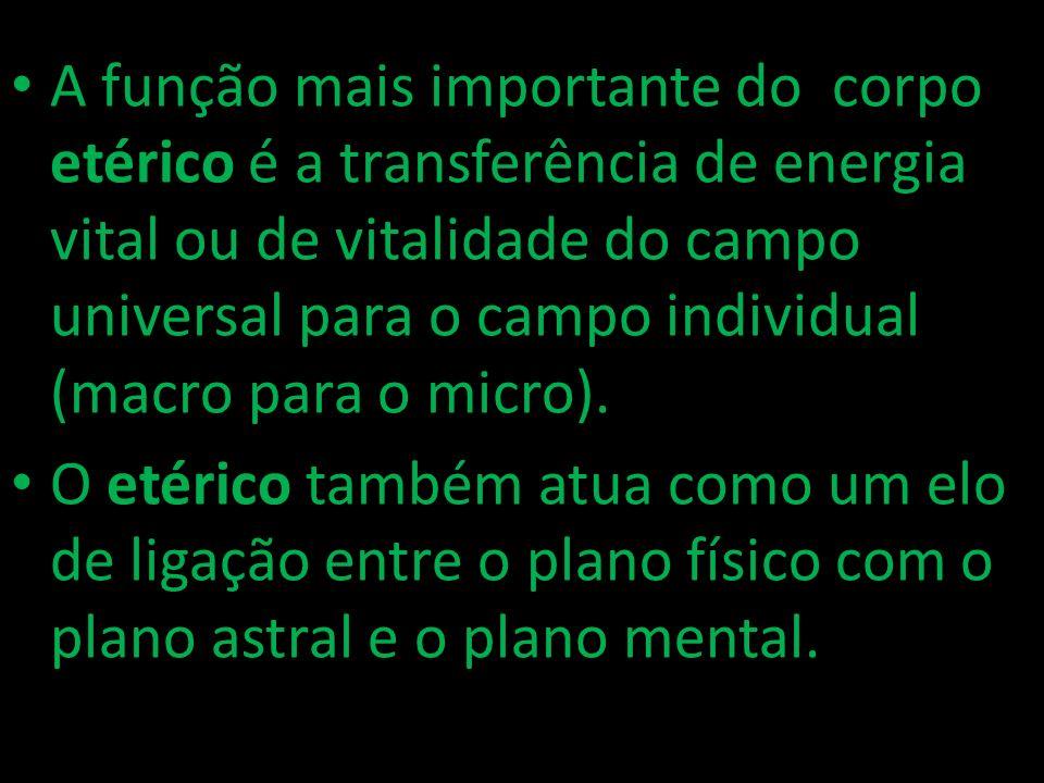 A função mais importante do corpo etérico é a transferência de energia vital ou de vitalidade do campo universal para o campo individual (macro para o micro).