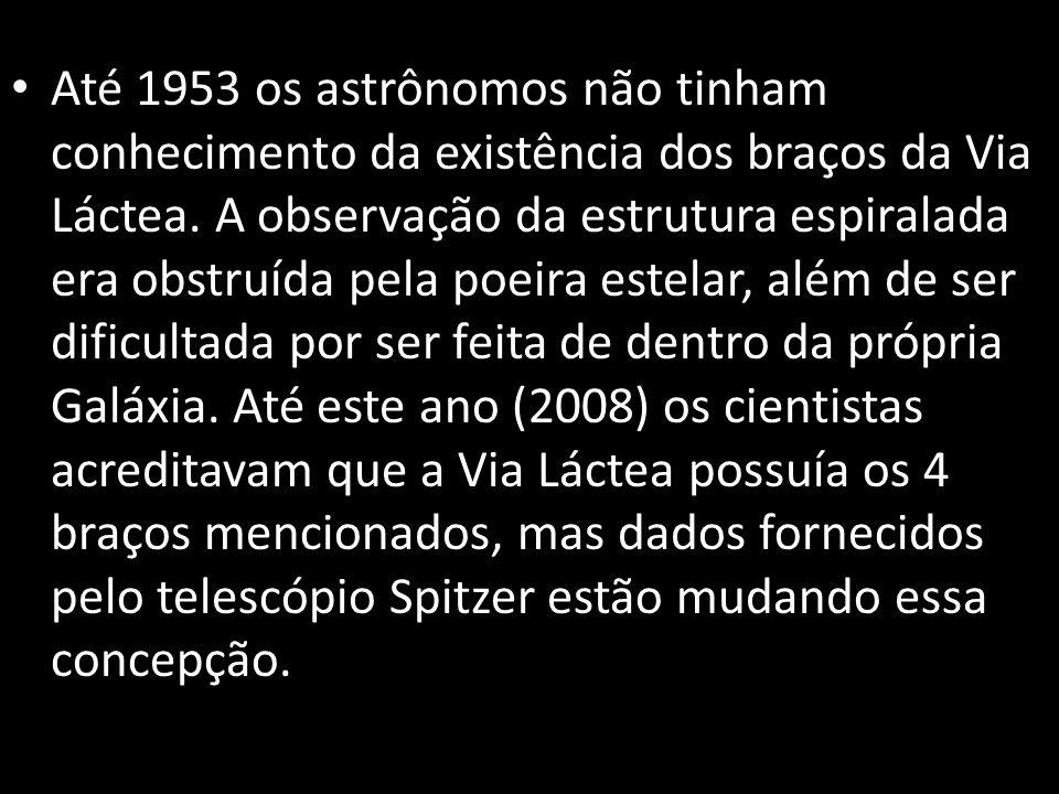 Até 1953 os astrônomos não tinham conhecimento da existência dos braços da Via Láctea.