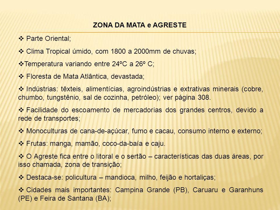 ZONA DA MATA e AGRESTE Parte Oriental; Clima Tropical úmido, com 1800 a 2000mm de chuvas; Temperatura variando entre 24ºC a 26º C;