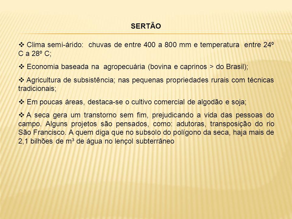 SERTÃO Clima semi-árido: chuvas de entre 400 a 800 mm e temperatura entre 24º C a 28º C;