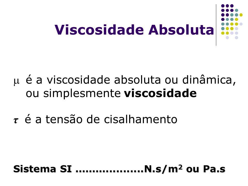 Viscosidade Absoluta é a viscosidade absoluta ou dinâmica, ou simplesmente viscosidade. τ é a tensão de cisalhamento.