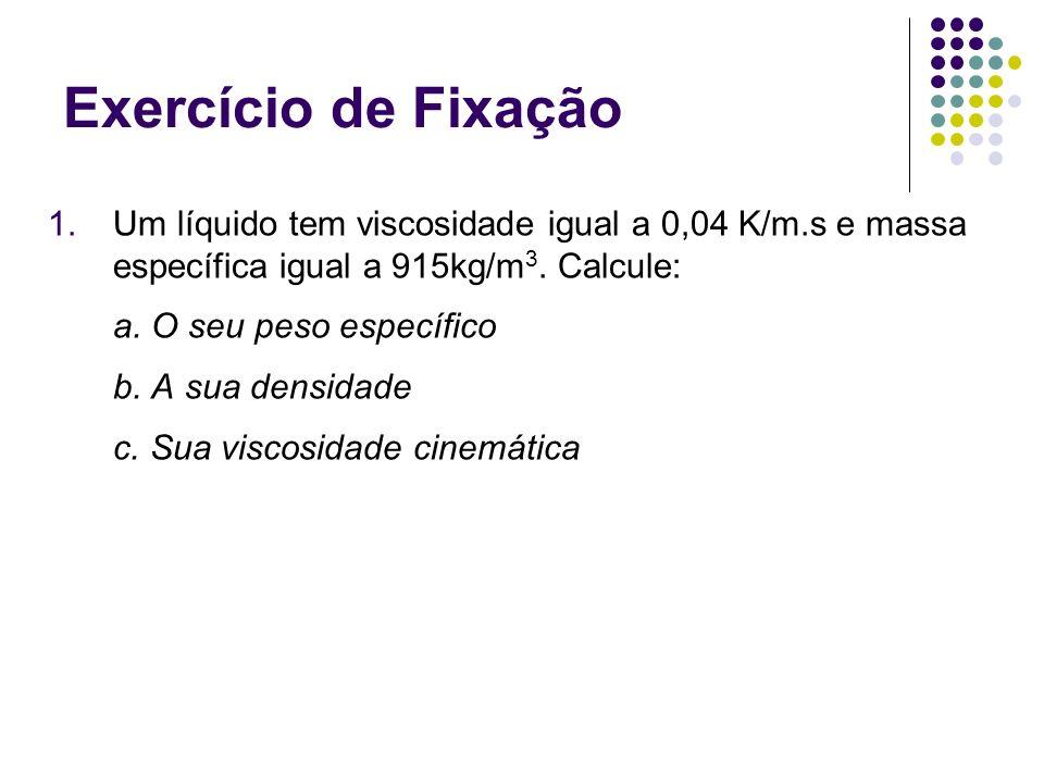 Exercício de Fixação Um líquido tem viscosidade igual a 0,04 K/m.s e massa específica igual a 915kg/m3. Calcule: