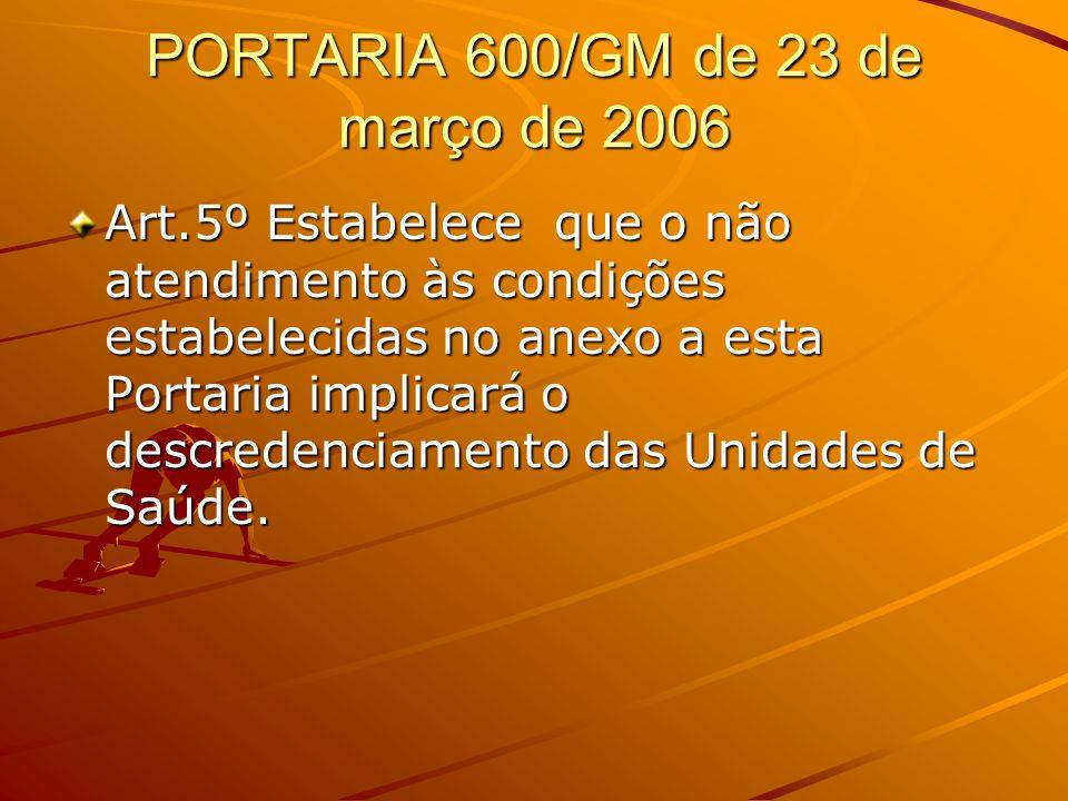 PORTARIA 600/GM de 23 de março de 2006