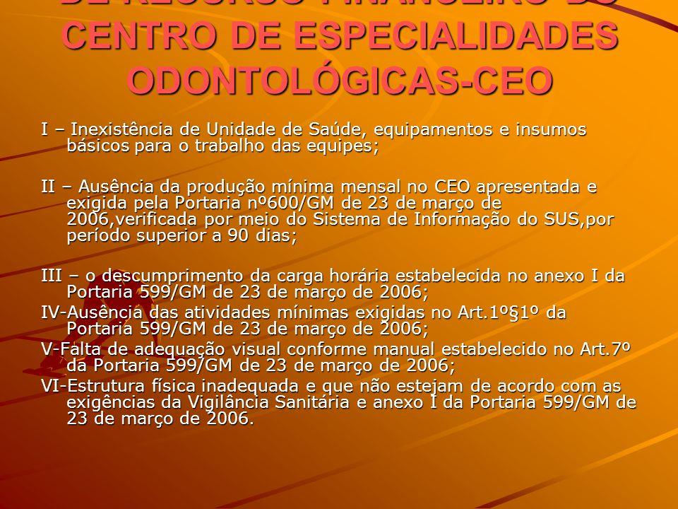 CRITERIOS PARA SUSPENSÃO DE RECURSO FINANCEIRO DO CENTRO DE ESPECIALIDADES ODONTOLÓGICAS-CEO