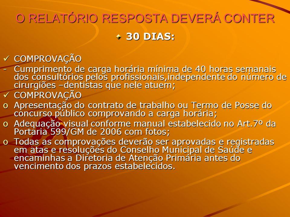 O RELATÓRIO RESPOSTA DEVERÁ CONTER
