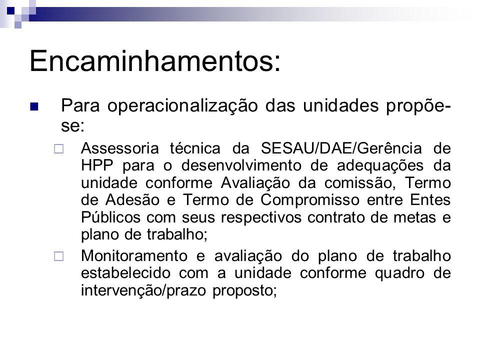 Encaminhamentos: Para operacionalização das unidades propõe-se: