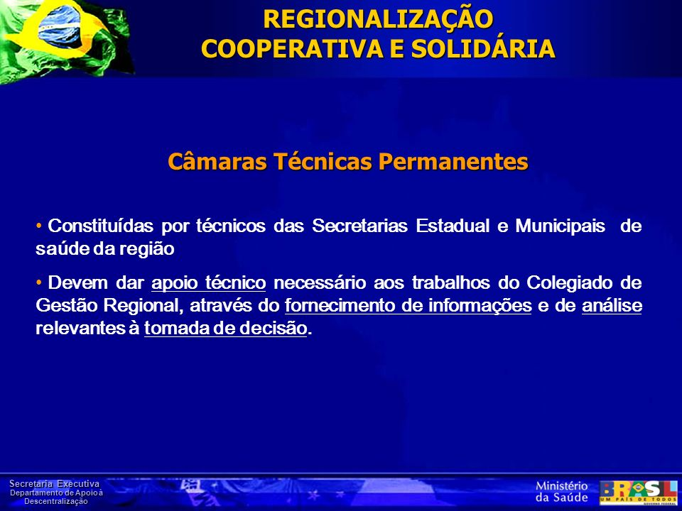 REGIONALIZAÇÃO COOPERATIVA E SOLIDÁRIA Câmaras Técnicas Permanentes