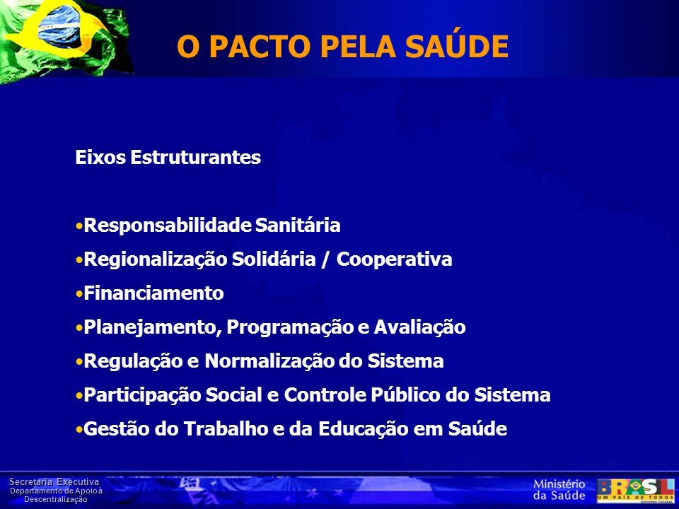 O PACTO PELA SAÚDE Eixos Estruturantes Responsabilidade Sanitária