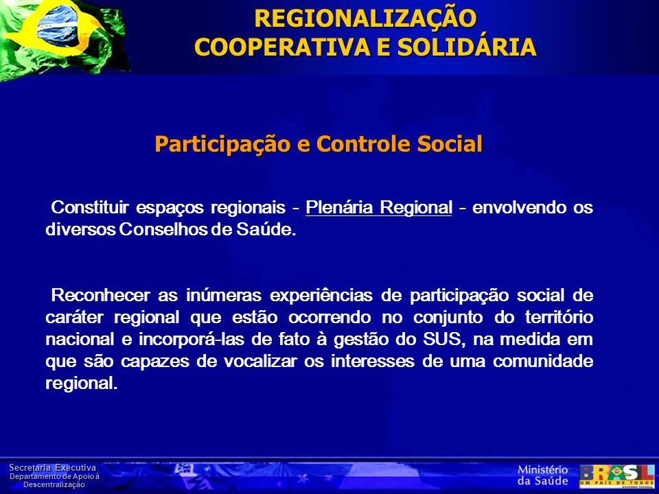 REGIONALIZAÇÃO COOPERATIVA E SOLIDÁRIA Participação e Controle Social