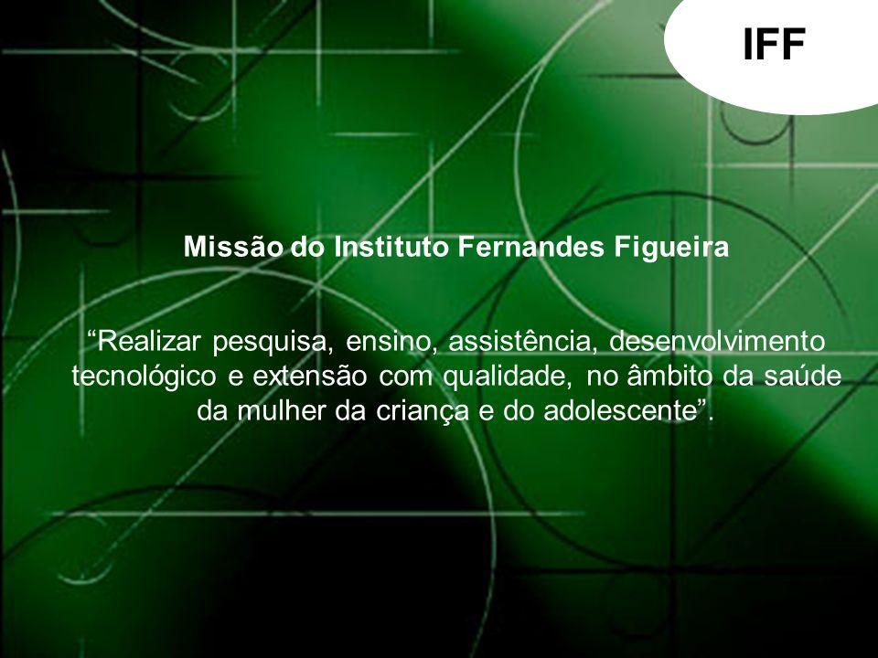 IFF Missão do Instituto Fernandes Figueira Realizar pesquisa, ensino, assistência, desenvolvimento.