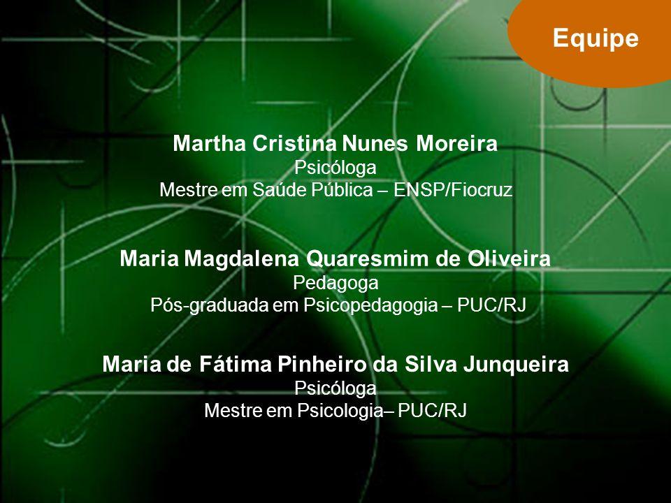 Equipe Martha Cristina Nunes Moreira Psicóloga Mestre em Saúde Pública – ENSP/Fiocruz.