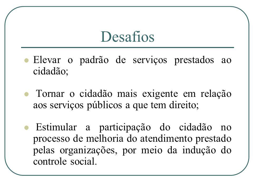 Desafios Elevar o padrão de serviços prestados ao cidadão;