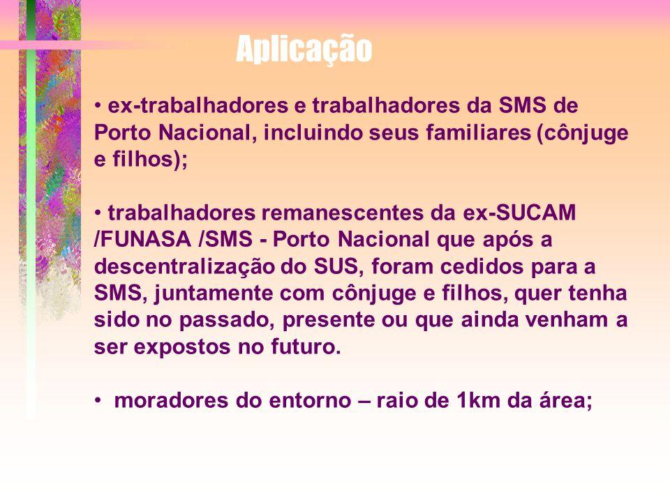 Aplicação ex-trabalhadores e trabalhadores da SMS de Porto Nacional, incluindo seus familiares (cônjuge e filhos);