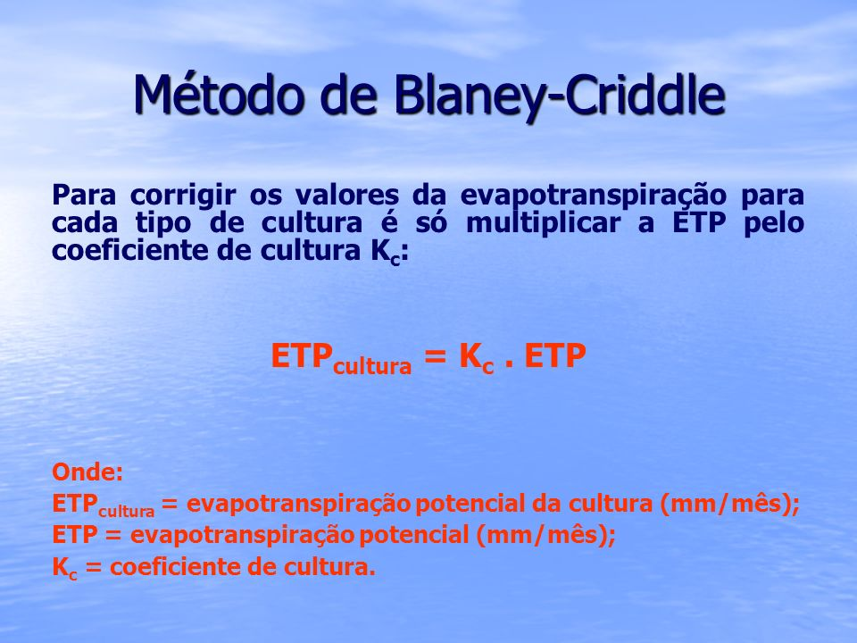 Método de Blaney-Criddle