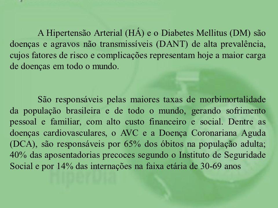 A Hipertensão Arterial (HÁ) e o Diabetes Mellitus (DM) são doenças e agravos não transmissíveis (DANT) de alta prevalência, cujos fatores de risco e complicações representam hoje a maior carga de doenças em todo o mundo.
