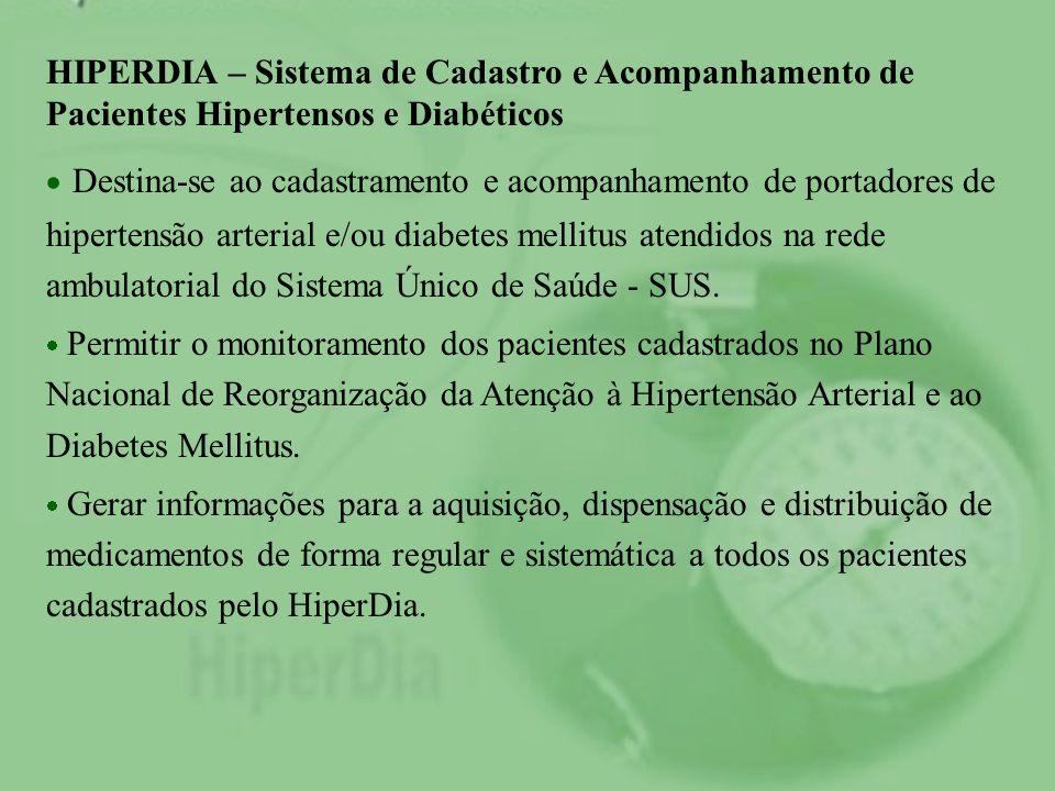 HIPERDIA – Sistema de Cadastro e Acompanhamento de Pacientes Hipertensos e Diabéticos