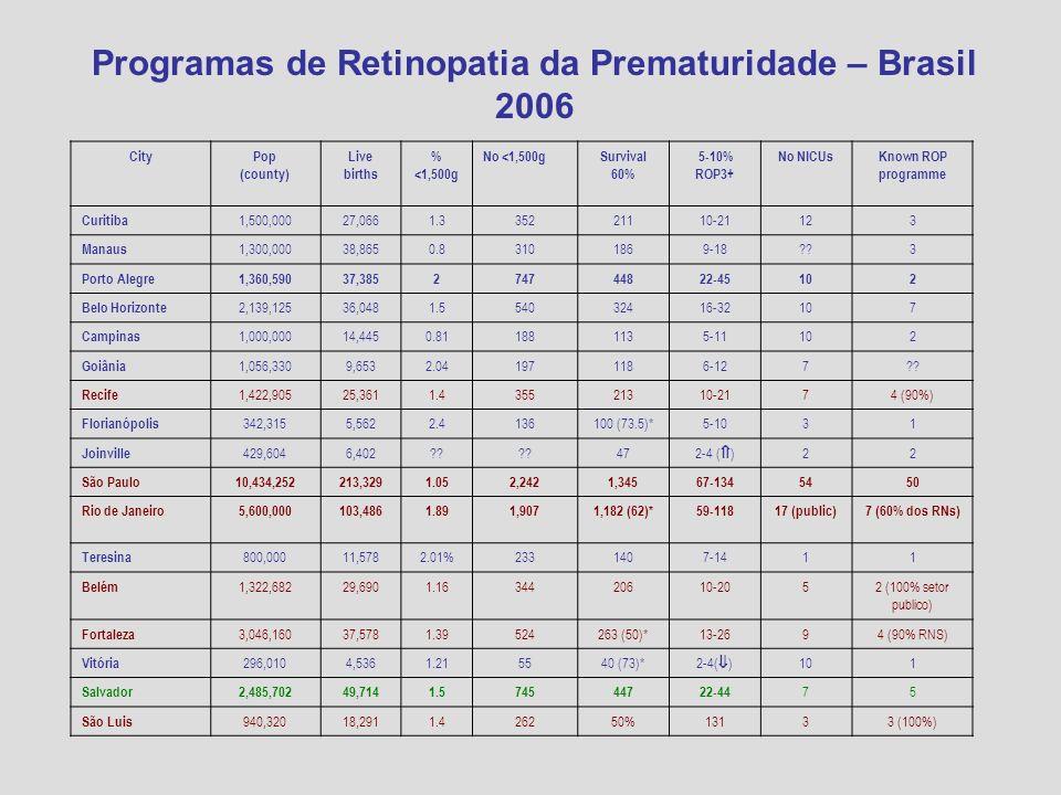 Programas de Retinopatia da Prematuridade – Brasil 2006