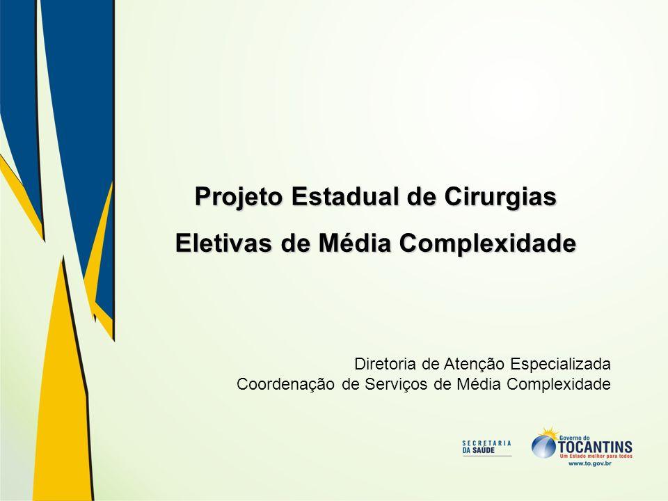 Projeto Estadual de Cirurgias Eletivas de Média Complexidade