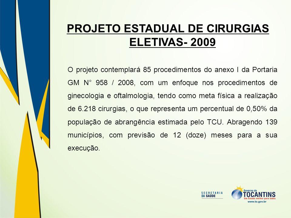 PROJETO ESTADUAL DE CIRURGIAS ELETIVAS- 2009