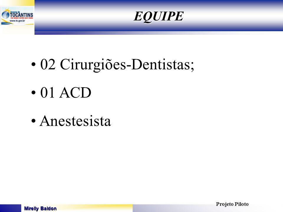 02 Cirurgiões-Dentistas; 01 ACD Anestesista