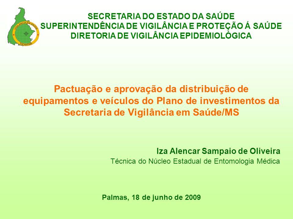 Pactuação e aprovação da distribuição de equipamentos e veículos do Plano de investimentos da Secretaria de Vigilância em Saúde/MS Iza Alencar Sampaio de Oliveira Técnica do Núcleo Estadual de Entomologia Médica Palmas, 18 de junho de 2009