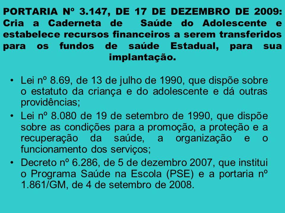 PORTARIA Nº 3.147, DE 17 DE DEZEMBRO DE 2009: Cria a Caderneta de Saúde do Adolescente e estabelece recursos financeiros a serem transferidos para os fundos de saúde Estadual, para sua implantação.